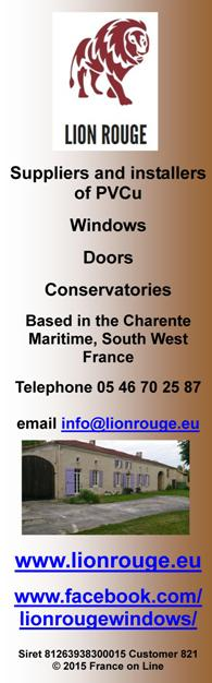 Lion Rouge,Charente Maritime,PVCu,UPVC,English supplier,windows,doors,conservatories,made to measure,south west France