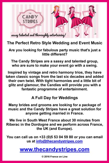The Candy Stripes,retro music,wedding music,event music,party music,vintage,harmony,trios,classic songs,weddings,brides and grooms,Riberac,Dordogne,south west France,UK,Europe