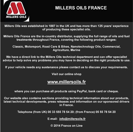 Millers Oils France Limousin Dordogne Charente supplying specialist oils for classic, vintage and veteran cars,classic,motorsport,road cars,bikes,nanotechnology oils,commercial,agriculture,marine