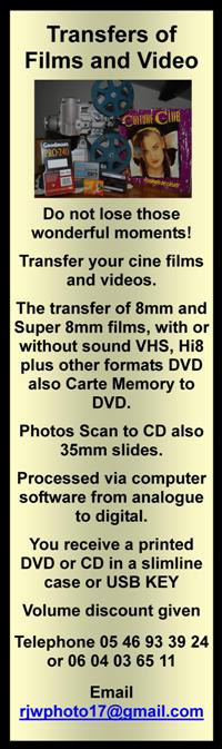 Transfer of film and video,cine films,videos,8mm films,vhs,hi8,dvd,carte memory,photo scan,cd,35mm slides,