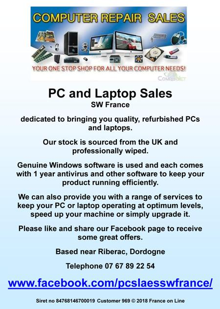 PC and Laptop sales,Riberac,Dordogne,south west France,second hand,used,refurbished,quality,uk stock,windows software,antivirus