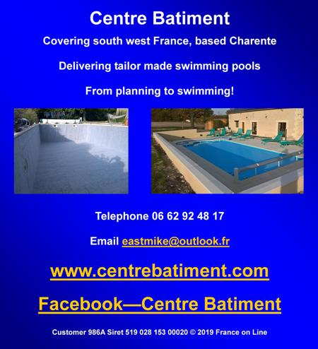 Centre Batiment,south west France,Charente,English,swimming pools,planning